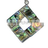 Hibiscus Colorful Flower Carved Abalone Shell Pendant Silver Necklace