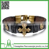 Black Genuine Leather Cross Fashion Bracelet Alloy Clasp Charm Cuff Bracelet for Men and Women