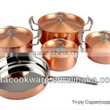 2015 New Products 9pcs German Quality 2.5mm Tri-ply Copper Cookware Set With Copper Plated Lid For Wholesales