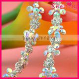 wholesale new arrival custom AB color crystal stone rhinestone metal chain trim WRC-220