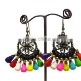 0007 HANDMADE JEWELRY Set Dangle Mix Multi Color STONE Brass Stitch Beaded Woven Earrings from THAILAND