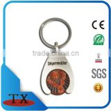 fashion design enamel coin euro key holder ring