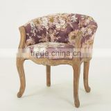 Classic colorful fabric wood carving antique wooden armchair/French style wooden dressing stool(CH-939-1-Oak)