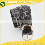 2015 Designer Fashion Women's leopard pointed Plain Pierced belt with Fuax leather factory china