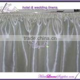 21 feet white satin table skirts with shirring pleats for wedding 8 feet rectangle banquet table decoration