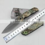 Camouflage handle 440 stainless steel folding pocket military knife