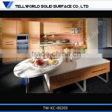TW hot sale pure white kitchen counter decorated with stainless steel wash basin sinks;Touch Good