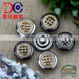 Fashion Button Rubber Core Denim Metal Jeans Button Shank Button With Pierced and Grid Logo