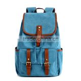 Fashion Leather Trim Canvas Backpack for Men