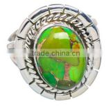 Hot Selling 925 Sterling Silver Green Copper Turquoise Jewelry Ring wholesale price