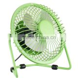 High quality strong wind 4 inch full metal aluminum blades USB mini desk fan with on/off switch