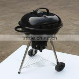 Hotsale! Enamel Apple Charcoal Grill Kamado with Wheel /Black Easy Carrying Portable Grill