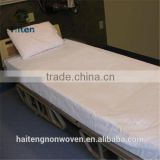 Disposable PP surgical medical nonwoven bed sheet+bed cover with elastic+pillow case for hospital or hotel use
