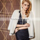 Regular Length natural white women mink fur coat with beautiful pearl