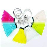 Colorful real feather badminton key /ring chain, cheap price promotion badminton keychain