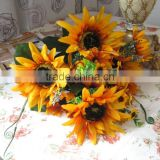 2014 artificial flower artificial silk sunflowers artificial sunflower bouquet fake sunflowers
