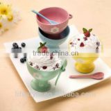 Solid Color Ceramic Ice Cream With Spoon,Round Shape Ice Cream Holder