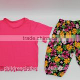 Red Short Sleeve Tshirt Vintage Floral Baby Girl Pants Casual Comfortable Toddler Summer Outfit