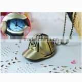 Baseball Cap Pendant Necklace Watch Bronze Tone Pocket Watch With Chain