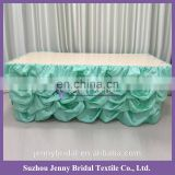 TS001#81 Turquoise polyester taffeta dress in table for table skirts for sale