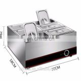Restaurant equipment commercial food warmer hot pot counter top bain marie with curved