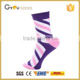 oem sexy young girls tube socks knitted cotton socks sublimation blank socks with Spiral stripe