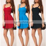 European Style Hot Sale Latest Dress Designs Fashion Casual Sexy Sleeveless Condole Belt Backless Girl Dress/Women Wear Quality