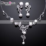New Model Platinum Plated Filigree Classic Wedding Design Pearl Zircon Jewelry Set