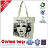 white 600D polyester canvas tote bag