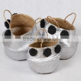 High quality best selling eco-friendly Metallic Silver seagrass baskets wth black pompoms from Vietnam