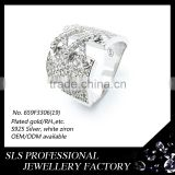 SLS Jewelry 2015 Most popular different design ring jewelry in 925 silver rhodium plated white zircon rings