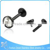 Black Plated Clear Crystal Internally Threaded Body Labret