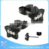 ZS20457 black plated fashion crystal earring cool 316l stainless steel cz stud earrings