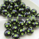 Jewelry 20mm Black with Lime Green Color beads HalloweenResin Polka Dot Beads for bulk bubblegum beads chunky necklace