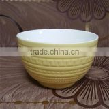500 ML beautiful yellow glazed embossed porcelain japanese noodle bowl
