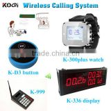 Wireless Watch Call Calling Waiter Server Paging Service System for Restaurant Tea House w Round Bell
