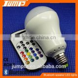 Factory hot sale bluetooth remote control RGBW colors E27 LED light music player bulb speaker
