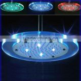 Glass Rainfall Shower Head with LED light, The Color Will Change in Different Water Temperature