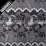 black eyelash lace with beautiful flowers new designer French lace fabric nylon made by Changle factory