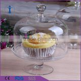 Handmade clear Birthday decor mini glass cake plate with dome                                                                         Quality Choice