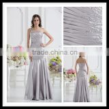 Real Sample One-shoulder Pleated Beaded A-line Floor Length Lustrous Satin Prom Dresses xyy07-046