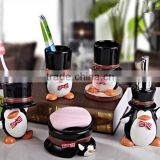 Customized Little penguin bathroom set 5pcs tooth brush holder soap box shampoo bottle China Factory