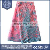 2016 latest pink and blue french lace wholesale 5 yards african material korean lace embroidery tulle fabric with rhinestones