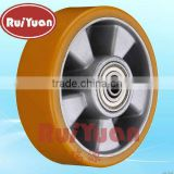 European style Heavy duty industrial caster polyurethane molded on Aluminum center wheel