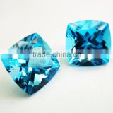 Swiss Blue Topaz Antique Cushion Cut Faceted Gemstone Jewelry Earrings Rings Pendant Set