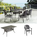 Classical style cast aluminum outdoor furniture rectangular dining sets for home yard furniture