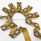 Yellow gray and black squares jacquard ribbon trim