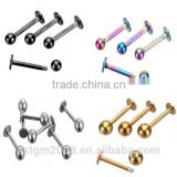 lip piercings labret 6mm/8mm/10mm stainless steel silver gold black pink blue body jewelry