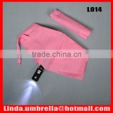 [L014] 3 folding automatic open&close LED umbrella with torch handle