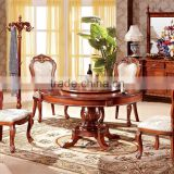 cheap dining table and 6 chairs home furniture / dining room furntirue solid wooden round rotating dining table